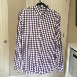 J.Crew Men's purple/white gingham shirt